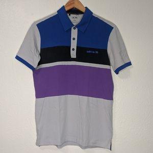 Adidas Small Color block Polo Shirt Purple Gray